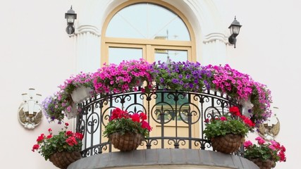 Wind waves flowers in flowerbeds on balcony with lanterns