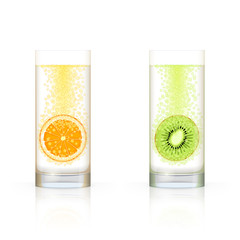 Glasses with fruits and bubbles