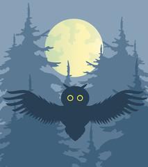 Vector illustration. Night forest.