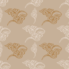 Hand drawn wave tracery grey background, seamless pattern. Vecto