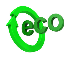 Ecology sign isolated over white.