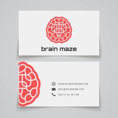 Business card template. Brain maze concept logo.