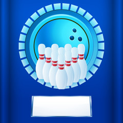 Bowling plaque on blue background