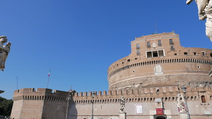Sculpture and the Castle of San Angelo. Rome, ItalyCastle San An