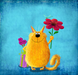 Yellow Cat with Flowers Gift and Dragonfly