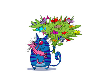 Blue Cat Holding Pink Cat and Bunch of Fishes in its Arms