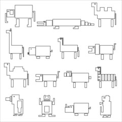 black square outline digital simple retro animals eps10