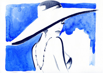 woman portrait with hat .abstract watercolor .