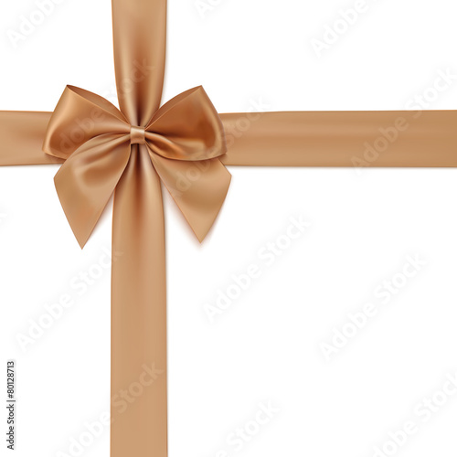 Realistic golden bow and ribbon isolated on white background. - 80128713