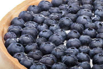 Large round blueberry pie shot close-up