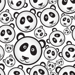 black and white panda bear head seamless pattern eps10