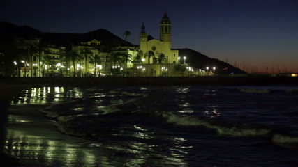 Night  of  Sitges with Church and sea. Spain