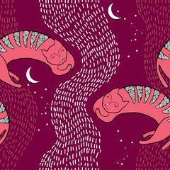 Seamless pattern with sleeping pink cat