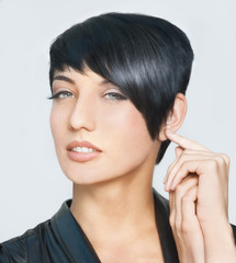 Beautiful woman with short hairstyle