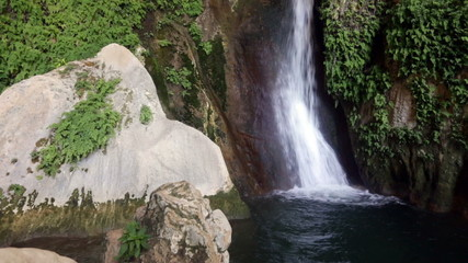 Waterfall in natural grot. Provincia de Jaen, Spain