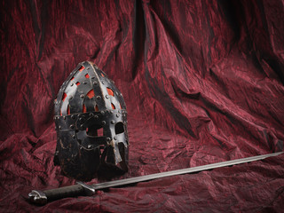 Medieval helmet and sword