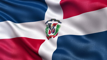 Dominican Republic flag waving in the wind. Seamless loop.