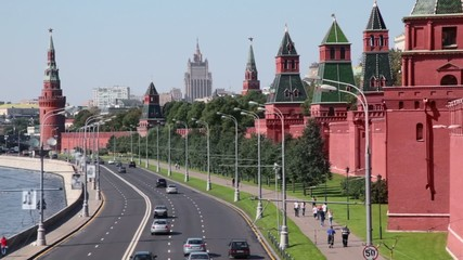 Traffic on Kremlin quay at sunny summer day in Moscow