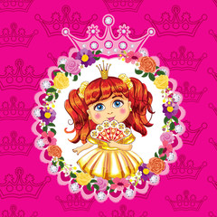 Little princess, red hair on a pink background