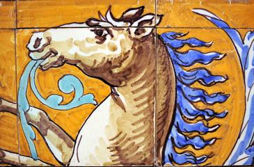 Cabeza de caballo, mosaico, azulejo