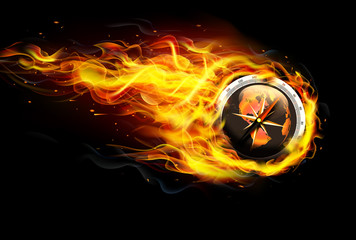 Compass on Fire