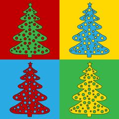 Pop art christmas tree symbol icons.