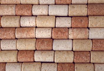 Many wine corks, macro view