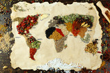 Map of world made from different kinds of spices