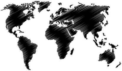 World map with scribble effect