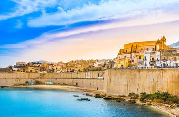 Sicily,Castellammare del Golfo panoramic view of harbor,Trapani.