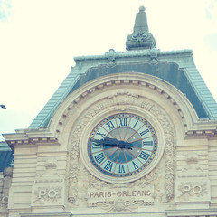 Orsay Museum in Paris with clock where you can see Sacre Coeur