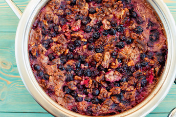 oatmeal, black currant and walnut casserole