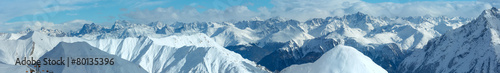 Silvretta Alps winter view (Austria). Panorama. - 80135396