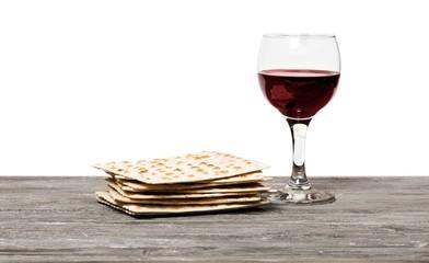 Pesach. passover background. wine and matzoh (jewish passover