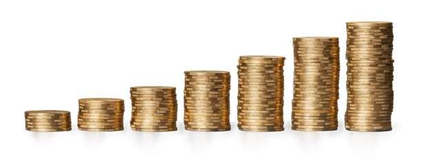 Currency. Golden coins with chart going up