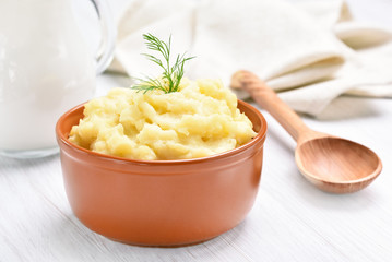 Bowl with mashed potato