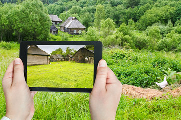 tourist photographs of backyard in village