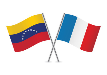 French and Venezuela flags. Vector illustration.