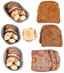 set of sliced bread isolated on white