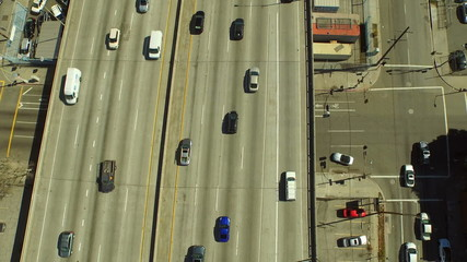 Los Angeles Aerial Freeway Follow