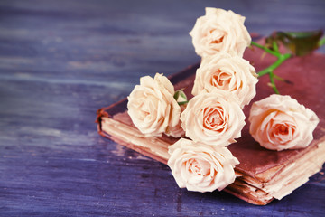 Beautiful roses with vintage book