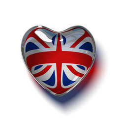 Heart with flag of the United Kingdom inside. Isolated on white.
