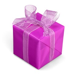 Gift. Christmas gift wrapped with bow, close-up