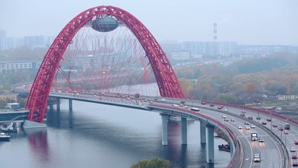 Zhivopisny Bridge is cable-stayed bridge that spans Moskva River