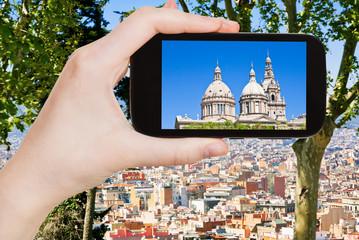 tourist photographs of Barcelona skyline