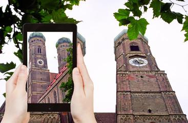 tourist photographs Frauenkirche church in Munich