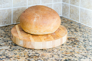 A loaf of home baked bread