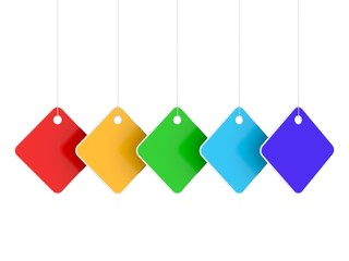 Five colored empty hanging labels