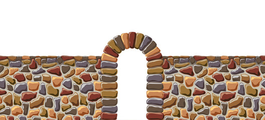 Arch and the wall of rough stone.