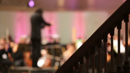 Back of conductor and musicians in concert hall and banister